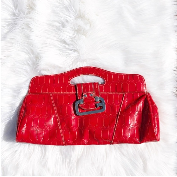 484cf0feb6f1 GUESS Red Leather Clutch.